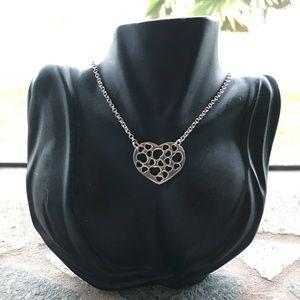 🔴 SALE ! Silver heart choker boho necklace